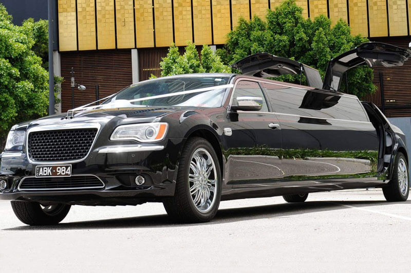 Stretch Black Chrysler luxury limousine hire