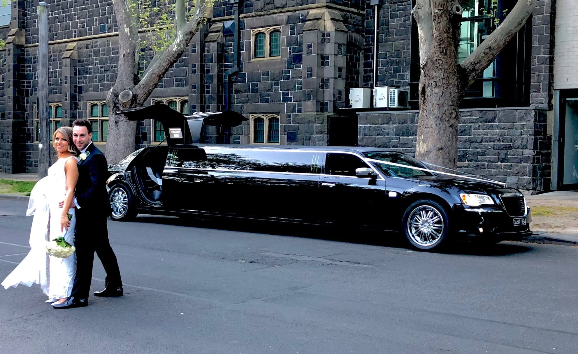 Stretch Black Chrysler luxury Wedding limousine hire