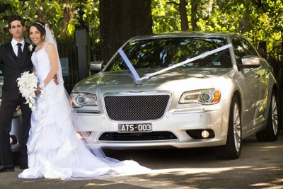 Silver Wedding Limo