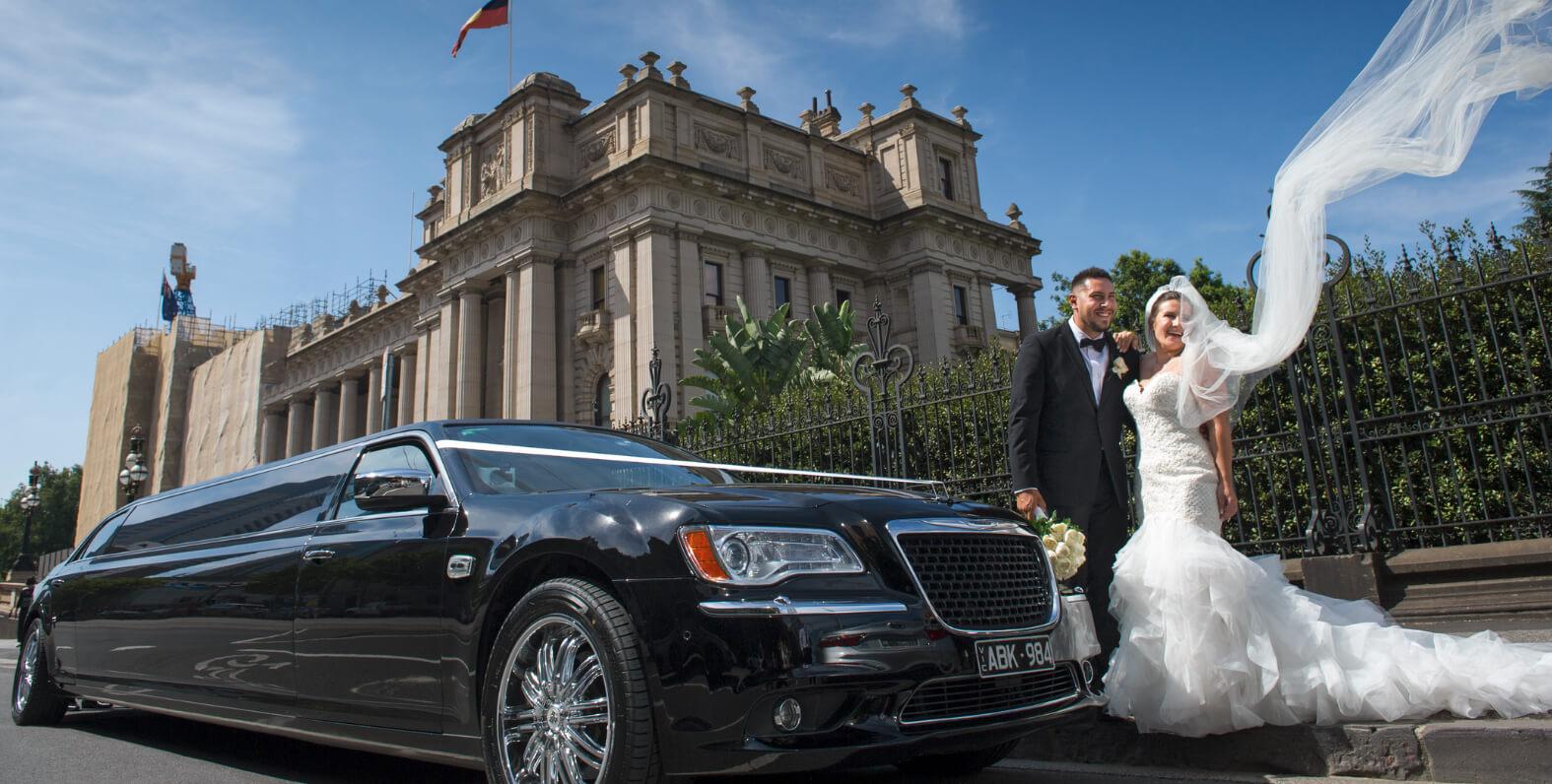 Black Chrysler luxury limousine Wedding Car